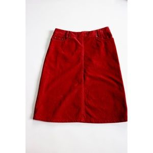 H&M Rust Red A-Line Corduroy Cotton Skirt Lined